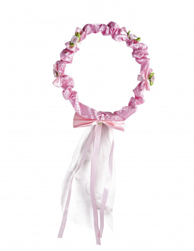 Couronne fleurs roses avec ruban fille