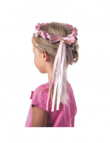 Couronne fleurs roses avec ruban fille-1