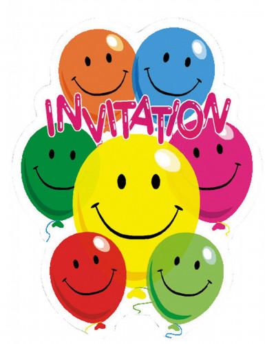6 Cartes d'invitation en carton Smile 10,5 x 8 cm