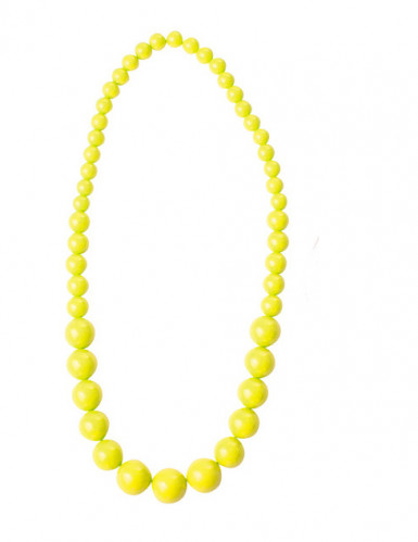 Collier grosses perles jaunes adulte