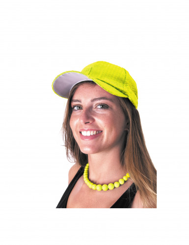 Collier grosses perles jaunes adulte-1