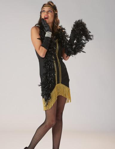 Déguisement Charleston noir et or à franges Femme-5