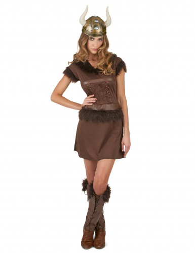 Déguisement Viking Sexy marron Femme-1