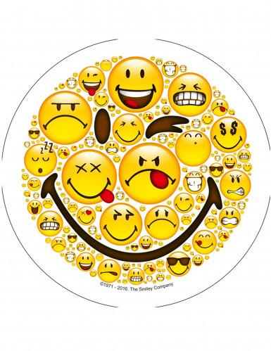 Disque en sucre Smiley™ 21 cm aléatoire-3