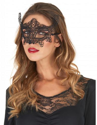 Masque vénitien dentelle noir femme