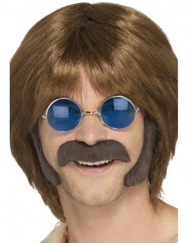 Kit hippie brun avec moustache et pattes homme