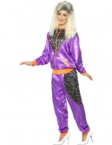 Déguisement jogging rétro violet femme-1