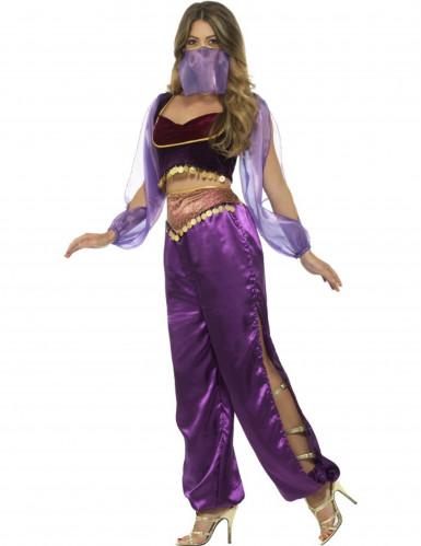Déguisement princesse arabe violette femme-1