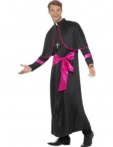 Déguisement prêtre noir et rose homme-1