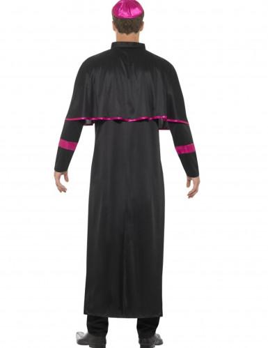 Déguisement prêtre noir et rose homme-2
