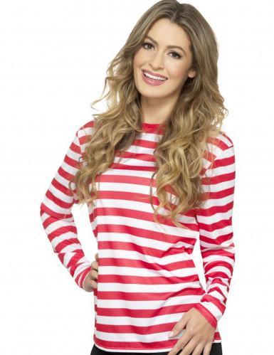 T-shirt rayé rouge et blanc adulte-1