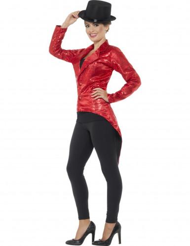 Queue de pie rouge à sequins femme-2