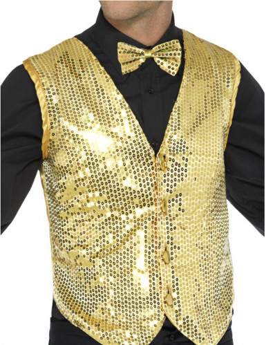Gilet or à sequins adulte