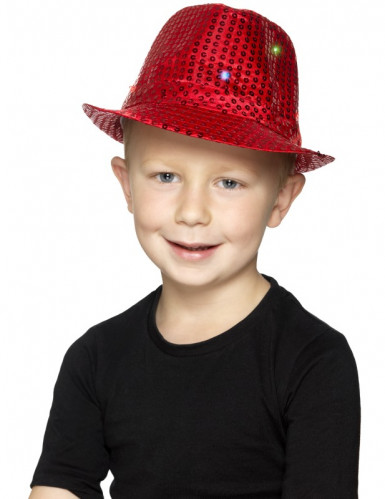Chapeau borsalino rouge à sequins avec LED adulte-1