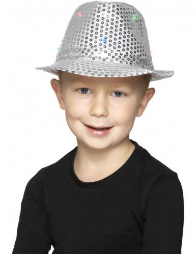 Chapeau borsalino argent à sequins avec LED adulte-1