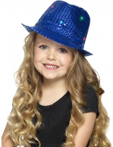 Chapeau borsalino bleu à sequins avec LED adulte-1