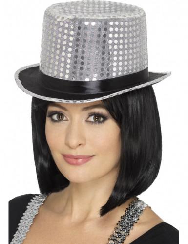 Chapeau haut de forme à sequins argent avec ruban noir adulte