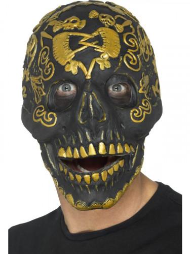 Masque bal masqué tête de mort doré adulte Halloween