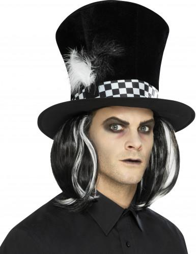 Chapeau haut de forme noir avec cheveux adulte