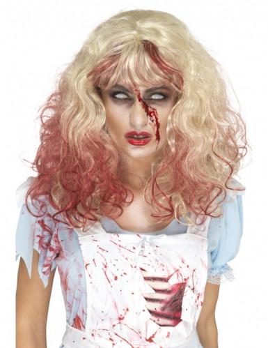 Perruque blonde ensanglantée femme Halloween