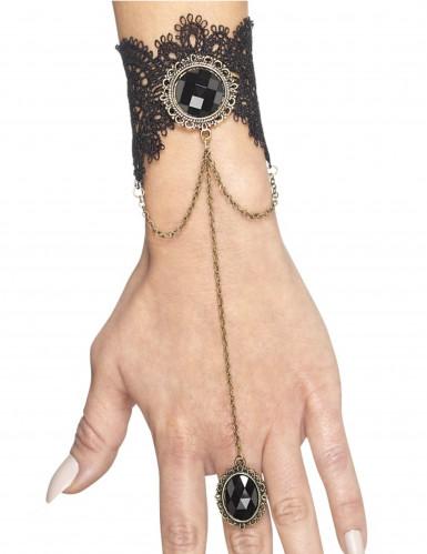 Bracelet avec bague gothique noire femme