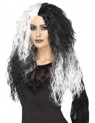 Perruque longue bicolore blanche et noire femme