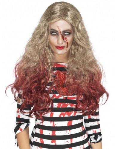 Perruque longue blonde ensanglantée femme Halloween