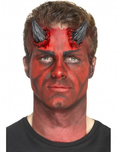 Prothèse latex cornes du diable noires adulte Halloween-1