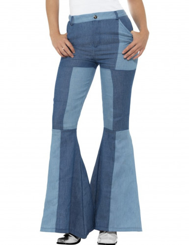 Pantalon jean patchwork bleu femme