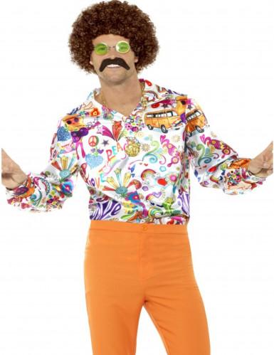 Chemise satinée hippie années 60 homme