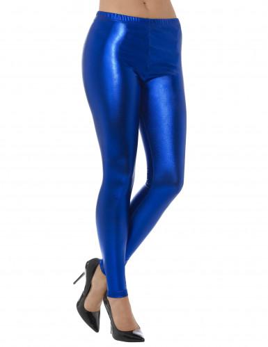 Legging métallisé bleu adulte