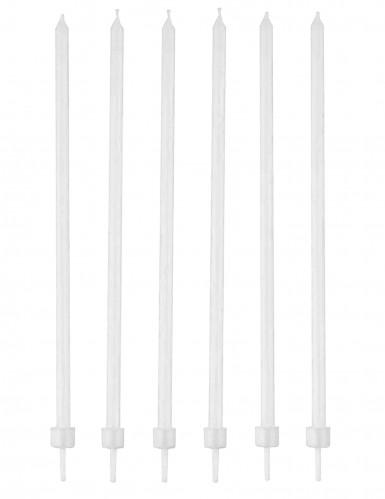 16 Bougies blanches fines avec bobèches 12 cm
