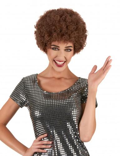 Perruque afro disco marron confort adulte