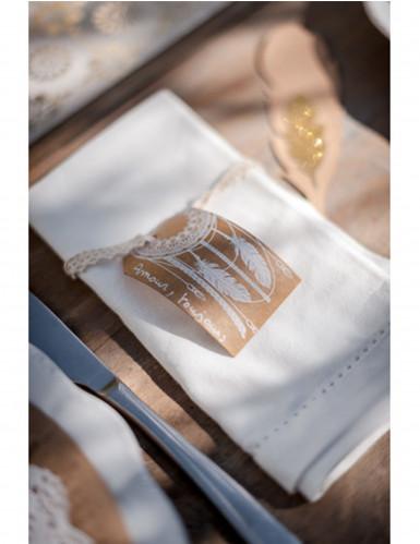 10 Etiquettes plumes Kraft Boho-1