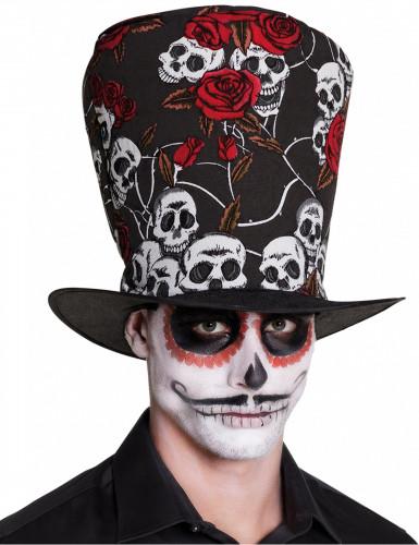 Chapeau haut de forme tête de mort et roses rouges adulte Dia de los muertos