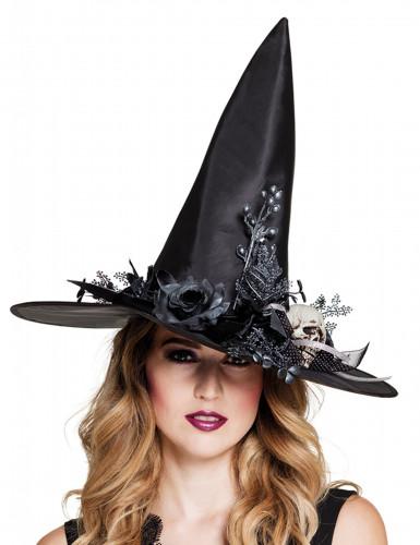 Chapeau sorcière tête de mort femme Halloween