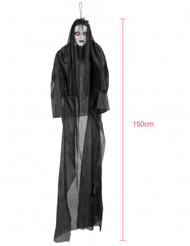 Décoration lumineuse et sonore dame noire 150 cm Halloween-1
