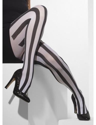 Collants rayés noirs et blancs mime femme