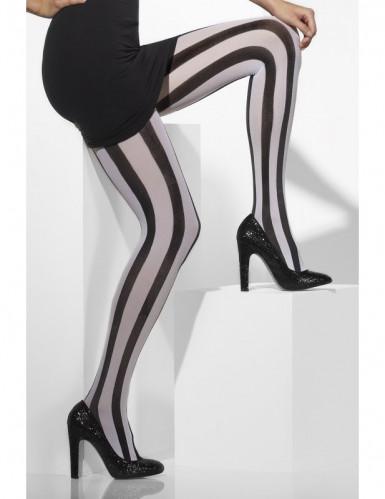 Collants rayés noirs et blancs mime femme-1