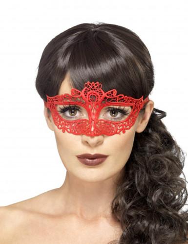 Masque dentellé rouge femme