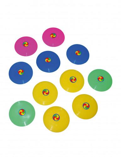 12 Mini frisbee colorés 7 cm
