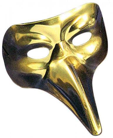 Masque vénitien long nez doré adulte