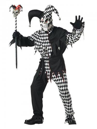Déguisement clown Arlequin d'Halloween homme noir