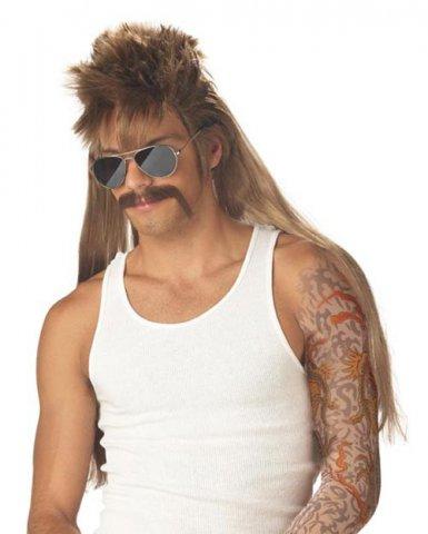 Perruque blonde coupe mulet et moustache homme
