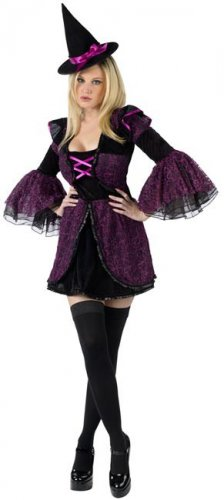 Déguisement sorcière sexy violet femme