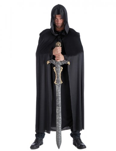 Cape longue noire de chevalier adulte