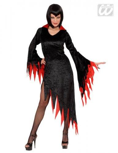 Déguisement de sorcière noire et rouge femme