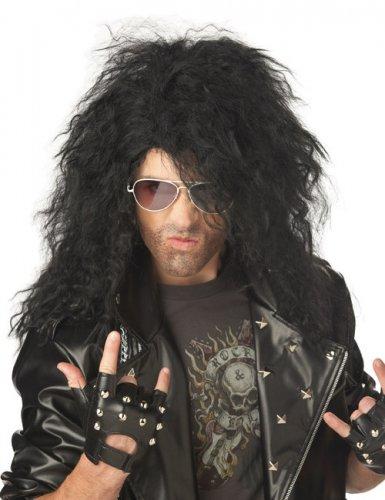 Perruque métal cheveux longs noir