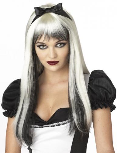 Perruque blanche et noire aux cheveux longs avec mèches adulte