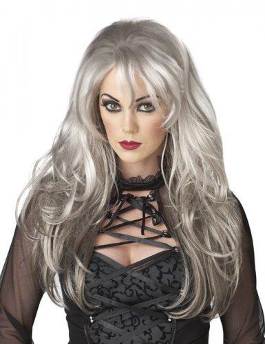 Perruque femme long cheveux gris